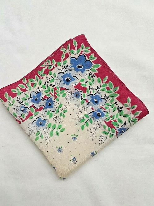 Ladies vintage handkerchief. Cream floral design. Square. Measures 29cm x 29cm.