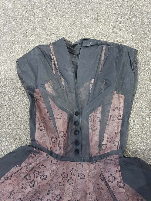 Vintage 1940's or 50's dress, black and pink, party, costume, (F)