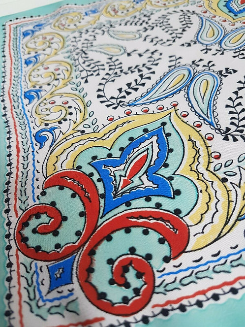 copy of Ladies Vintage handkerchief, hankie, rayon, 1940's, pink and blue (I)