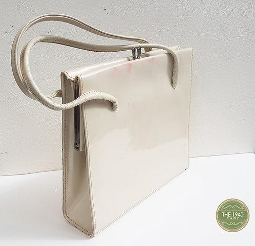 Vintage Cream Patent Waldybag, Handbag, Purse, 1940, 1950, Retro, Wartime, Homef