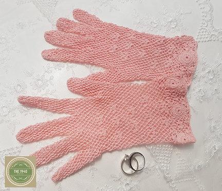 Pale Raspberry Crochet Gloves