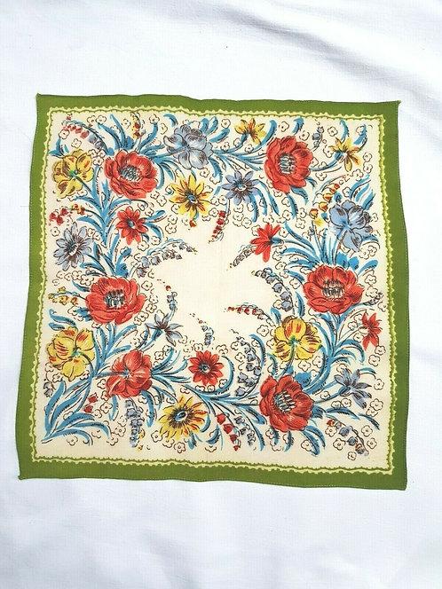 Ladies vintage handkerchief. Cream and pink floral design. Square. Measures 29cm