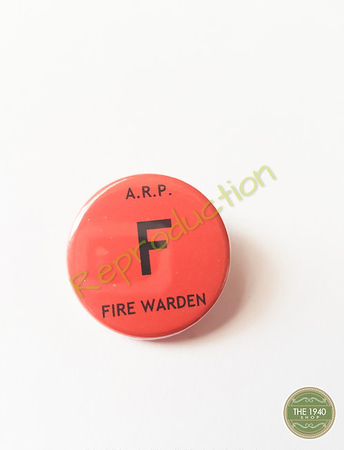 A.R.P. Fire Warden Pin Badge