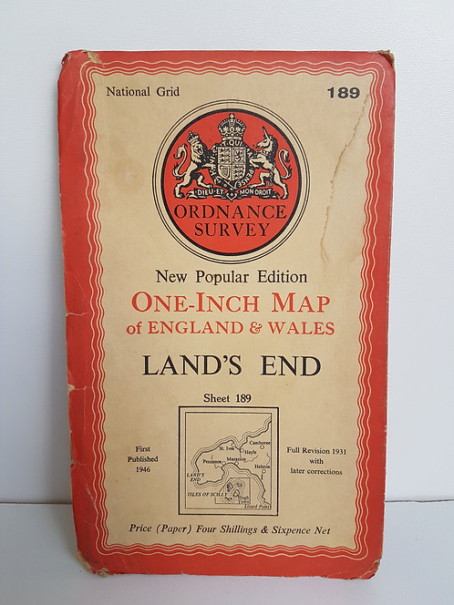 Vintage 1940's map of Land's End