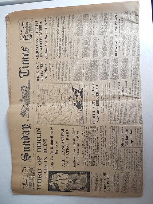 1940's Newspaper, Sunday Times, November 1943