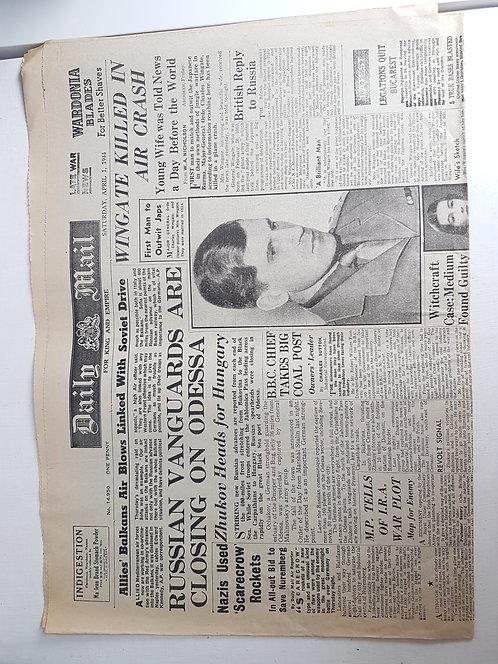 Vintage 1940's newspaper, April 1944