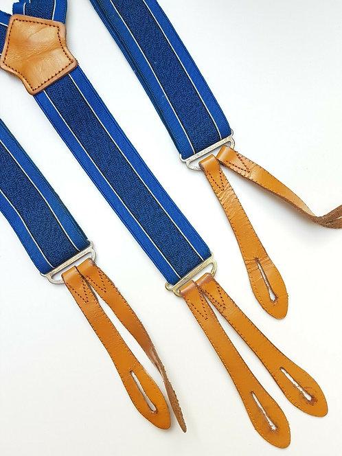 Vintage men's braces, blue with leather tabs, 1940's, WW2, (E)