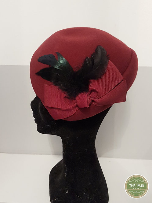 Ladies Red Hat, 1940's, WW2, Homefront