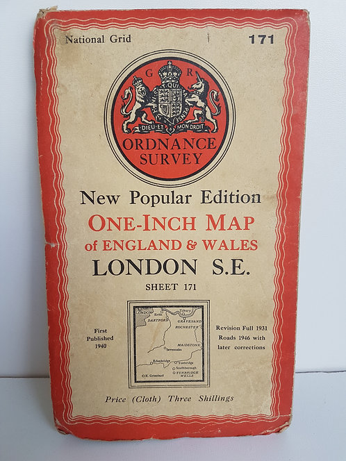 Vintage 1940's map of London S.E.