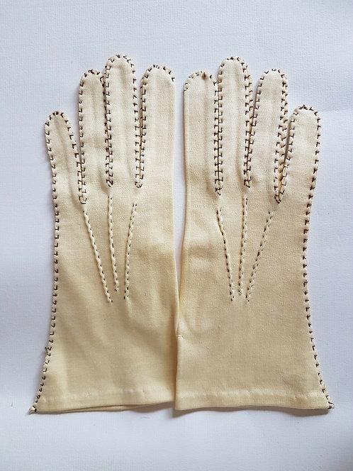 Ladies cream hand stitched gloves   (C)