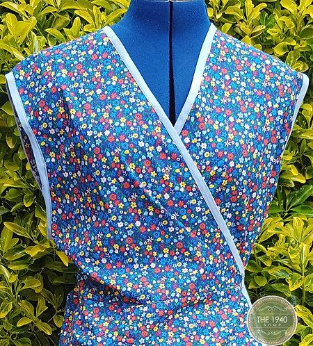 Blue Floral Wrap Pinny / Apron
