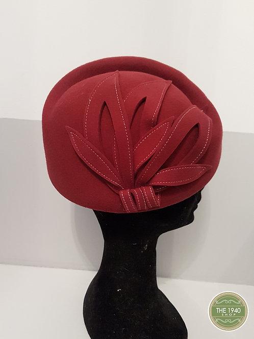 Ladies Red Leaf Hat, 1940's, WW2, Homefront