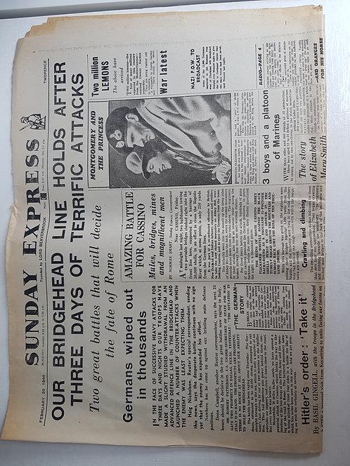 Vintage 1940's Newspaper, Sunday Express February 1944