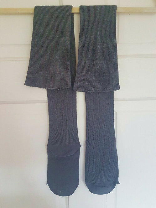 Vintage pair of grey stockings, ribbed,  retro, re enactment,(R)