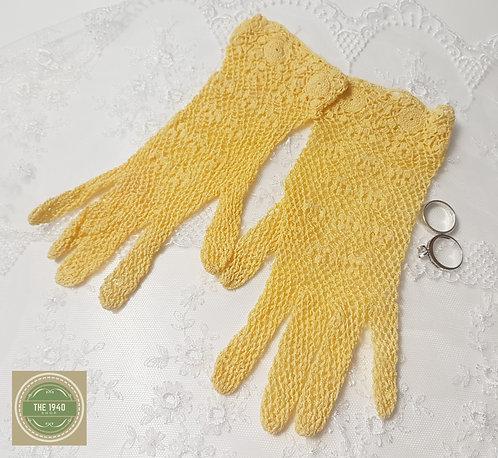 Sunshine Yellow Crochet Gloves