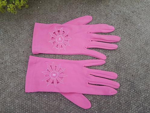 Vintage pink fabric gloves,