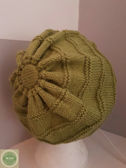 Green hand knitted beret