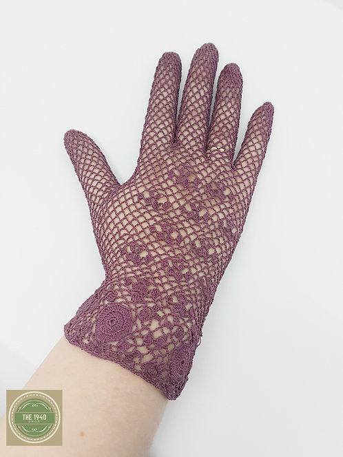 Cotton Crochet Gloves in Burgundy Red