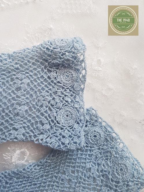 Light Blue Crochet Gloves
