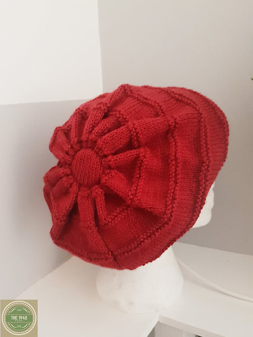 Red hand knitted beret