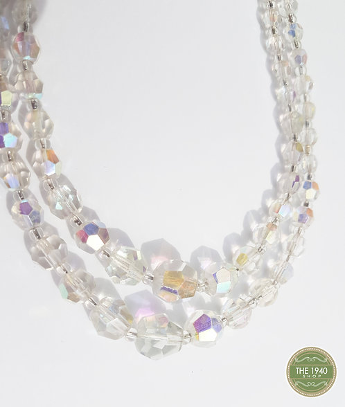 Vintage Double Strand Glass Bead Necklace