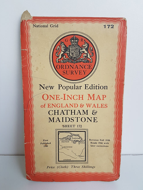 Vintage 1940's map of Chatham