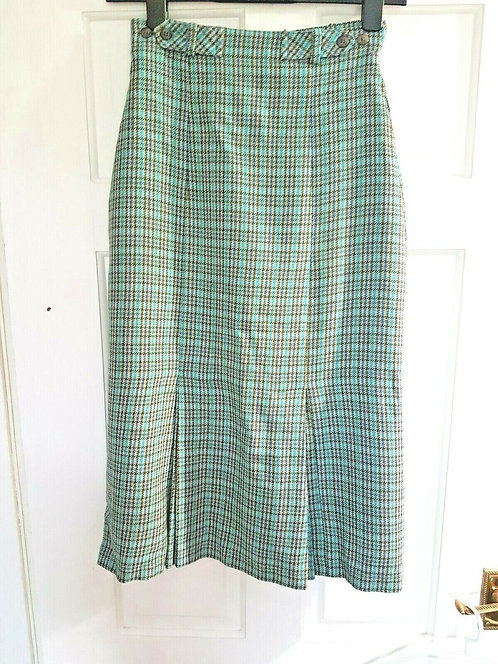 Ladies wool skirt, blue checked, vintage style, size 12 (J)