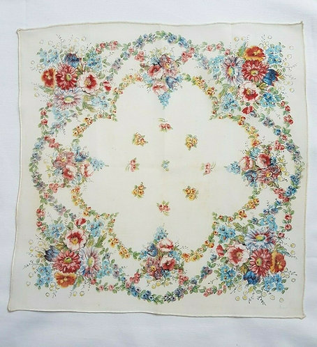 Vintage handkerchief, rayon, 1940's, stage, costume, (W)