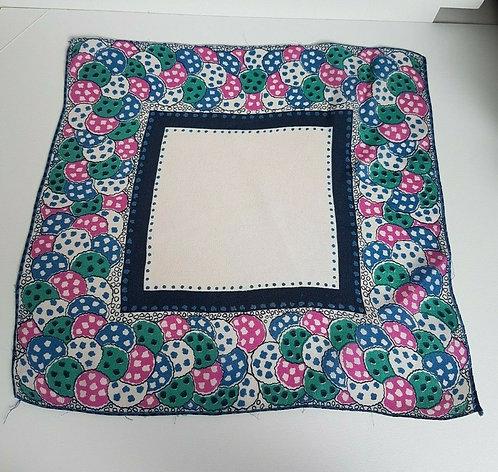 Ladies Vintage handkerchief, hankie, rayon, 1940's, pink and blue (I)