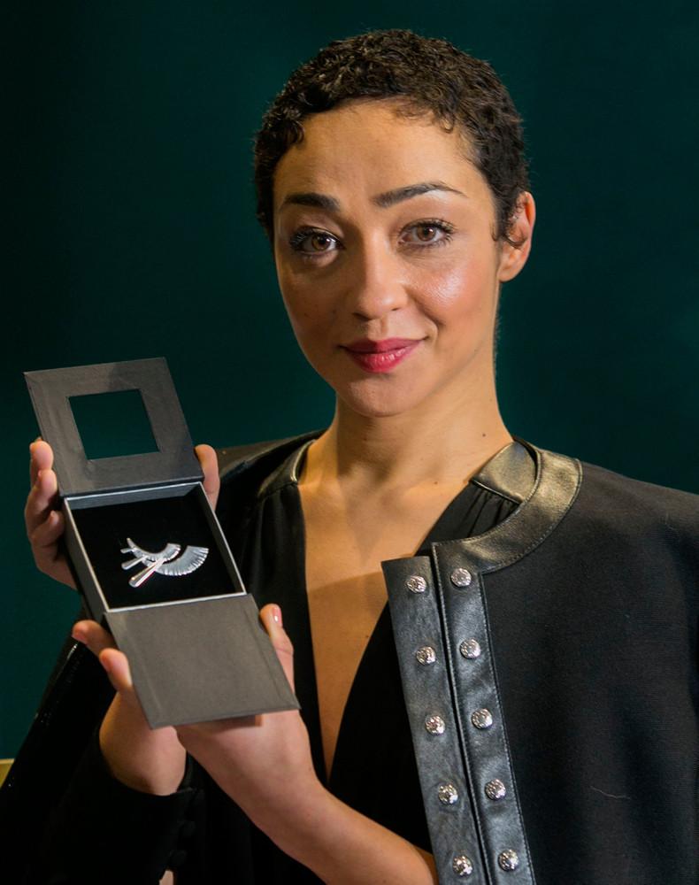 Ruth Negga with her Cultural Ambassador pin