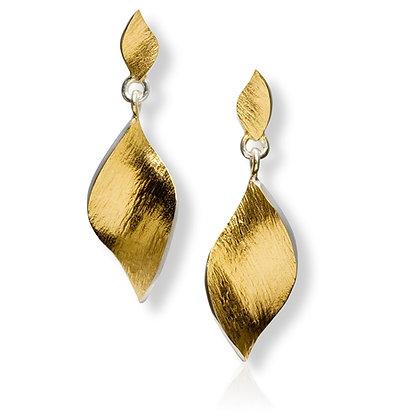 """Flowing Curves """"leaf shape"""" hanging earrings"""