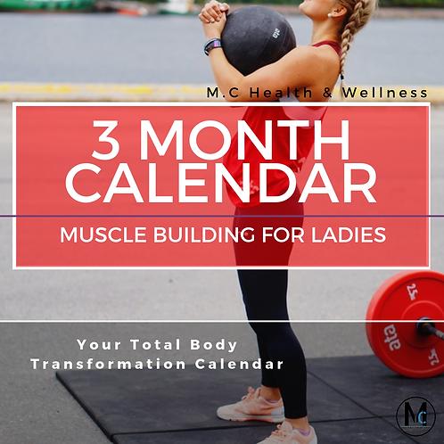 Ladies 3 Month Calendar - MUSCLE BUILDING