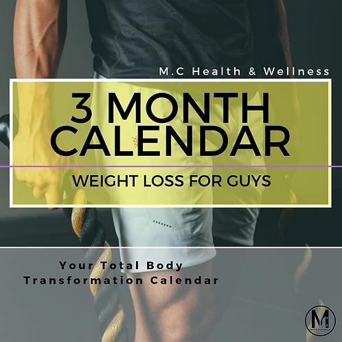 Guys 3 Month Calendar - WEIGHT LOSS
