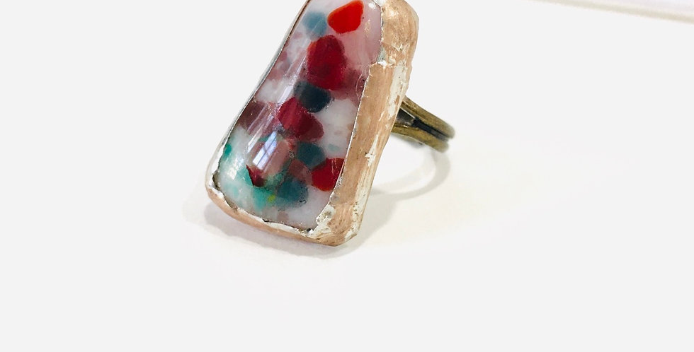 Red & Blue Confetti Fused Glass Ring