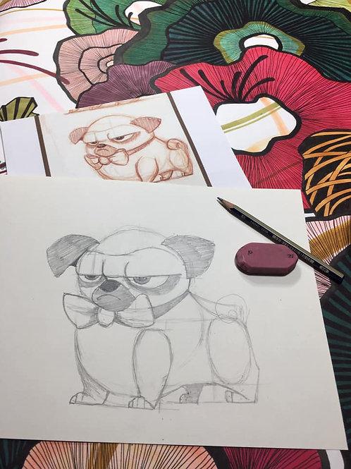 Grumpy Pup Drawing