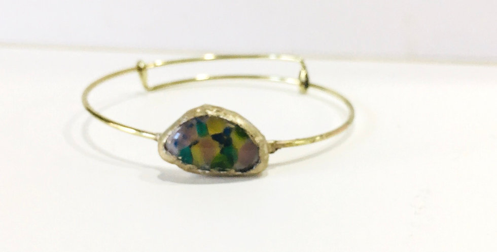 Blue & Yellow Fused Glass Bracelet