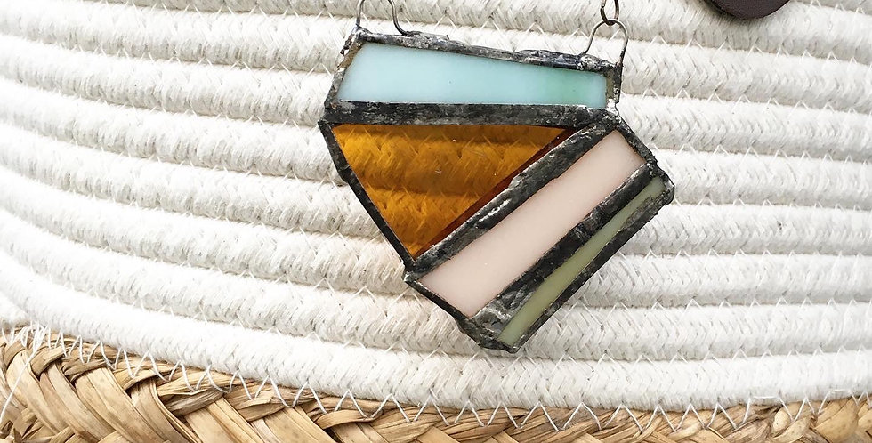 Brown and Pastel Stained Glass Necklace