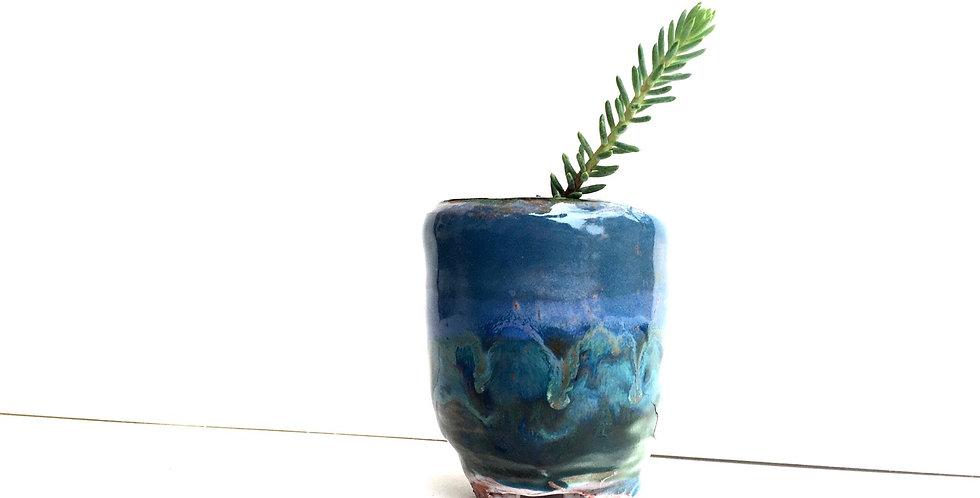 Blue/Aqua Miniature Planter 2