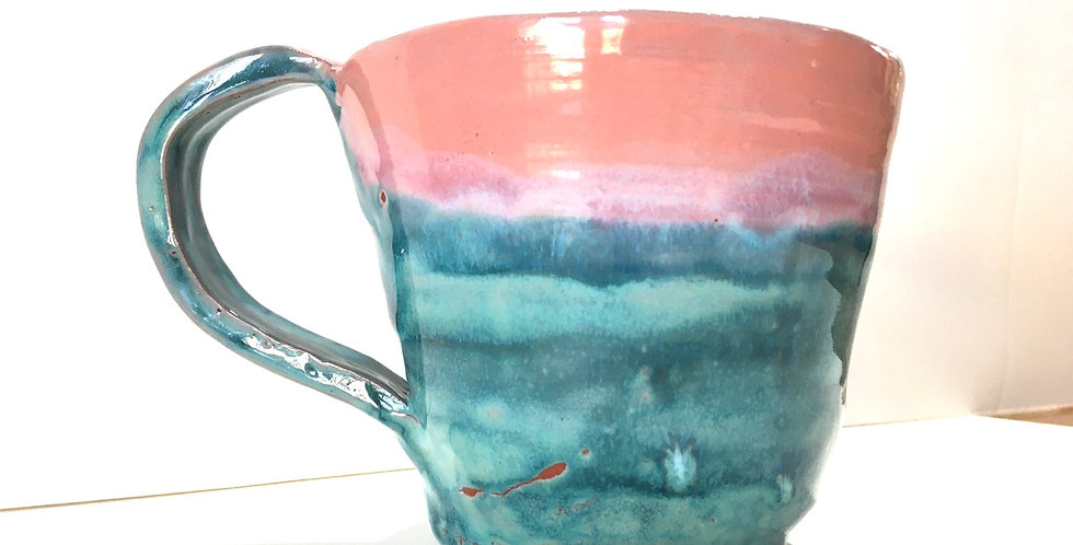 Oversized Pink/Blue Soup Mug