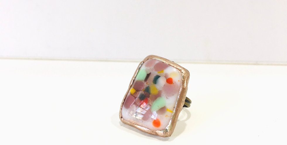 Large Confetti Fused Glass ring