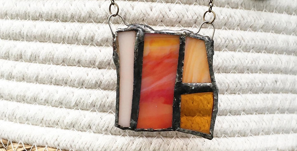 Orange and Red Stained Glass Necklace