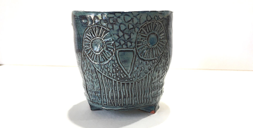 Dark Blue Miniature Owl Planter