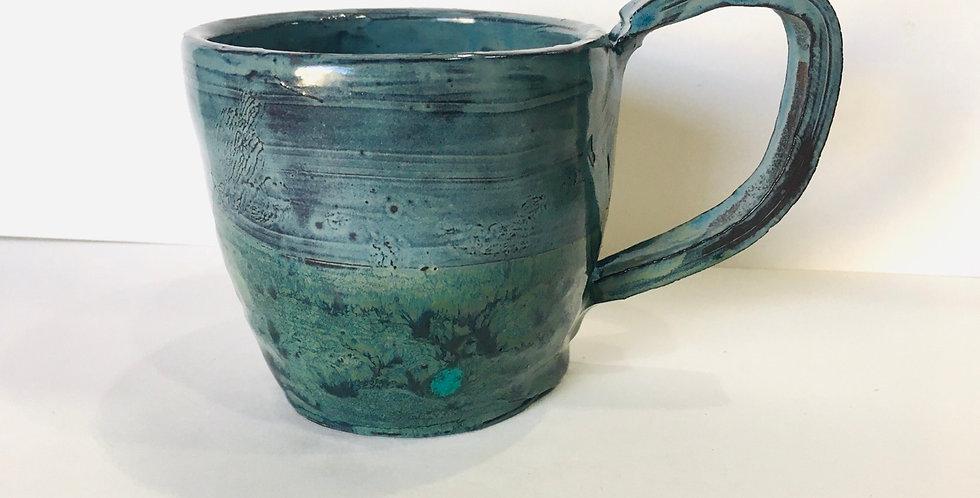 Blue on green mug