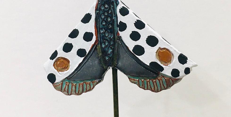 Black Dotted Moth Garden Stake