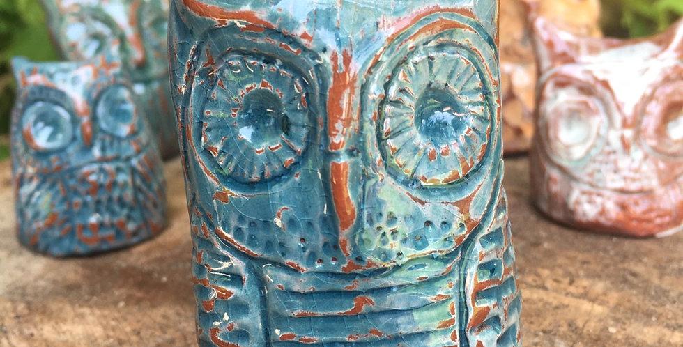 Aqua Crackle Owl