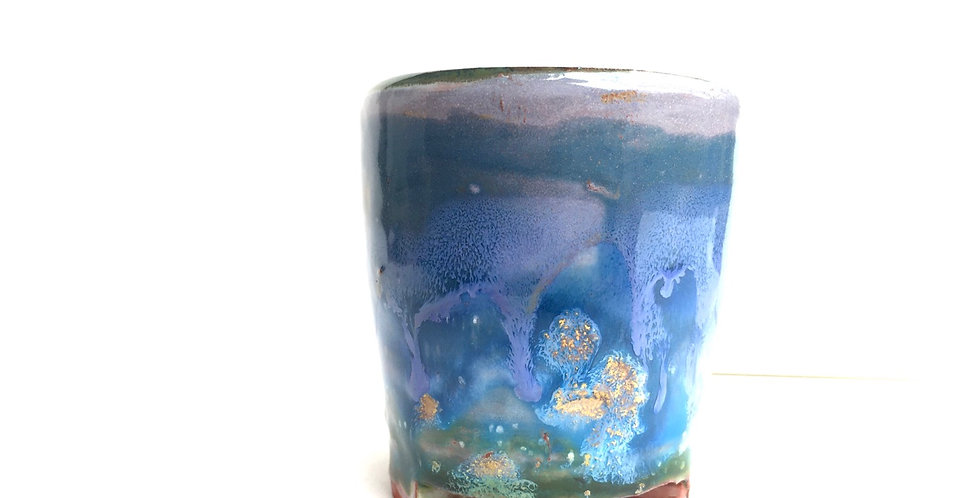 Blue and Gold Miniature Planter