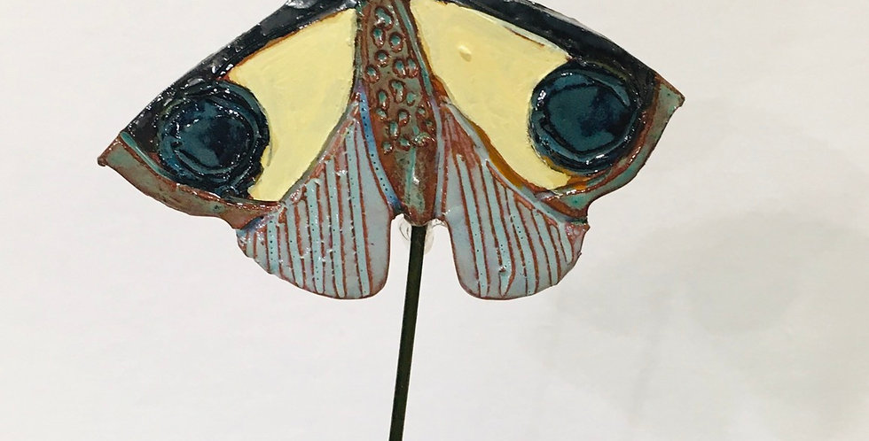 Yellow & Blue Moth Garden Stake