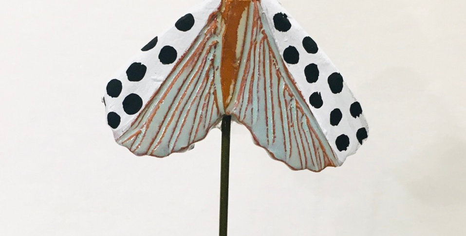 Polka Dotted with Seafoam Moth Garden Stake