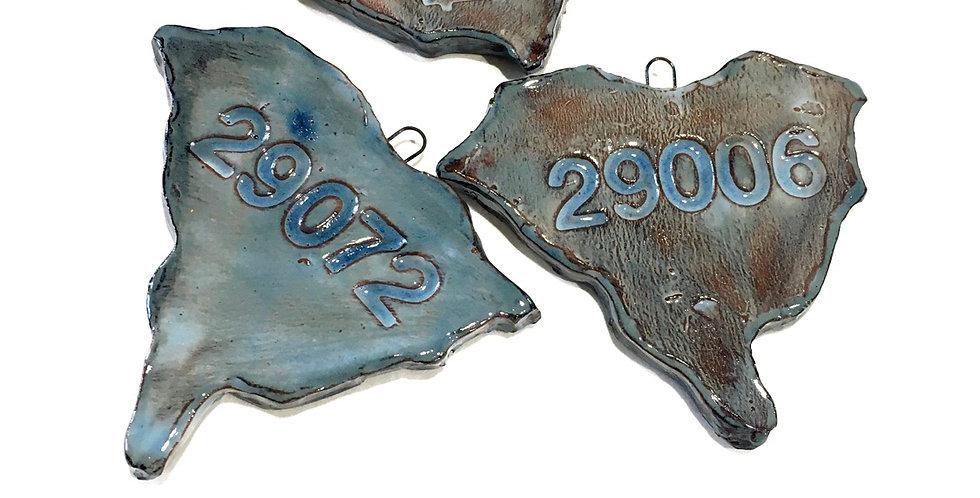 South Carolina Zip Code Ornament