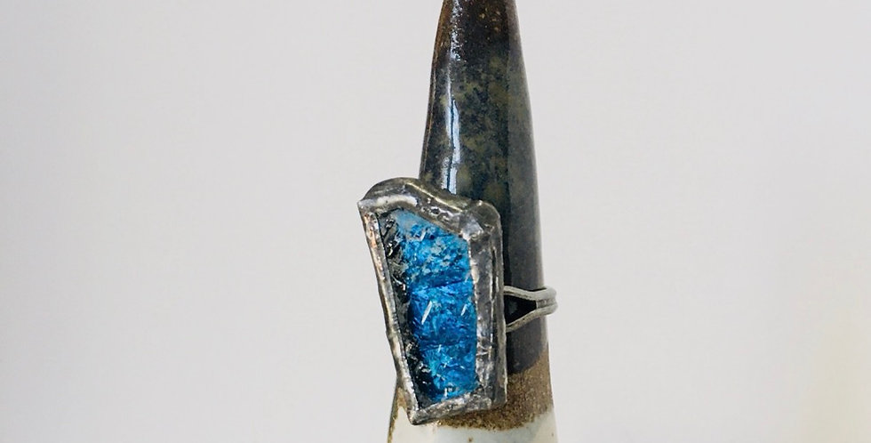Dark Blue Textured Stained Glass Ring